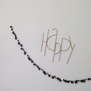 Les pommettes duchat Star garlands black           1m /1.5m