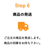 Step6:ご注文の商品を発送します。商品の到着をお待ち下さい。