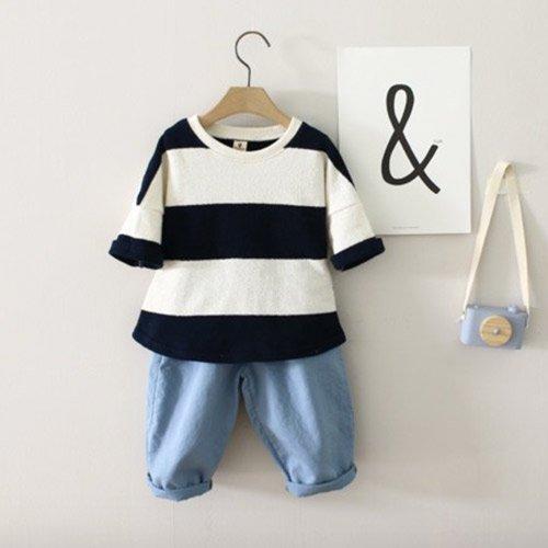 0ff01e6a4a8c8 TinyPokke  s selection 7分丈オフショルダーワイドボーダーT-Tシャツ ...