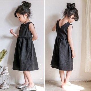 リネン風サロペット(ブラック)FOR KIDS