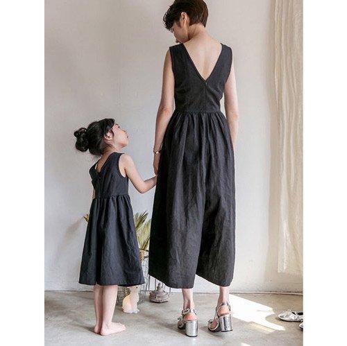 リネン風サロペット(ブラック)FOR MAMA
