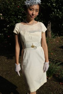 1950's vintage white cotton dress wedding 結婚式 2次会 party