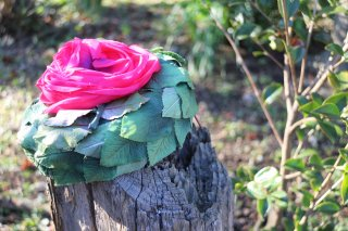 1950's vintage rose green&pink hat ヘッドドレス 結婚式 antique wedding party