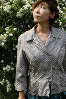 1950's vintage dot silk jacket antique ジャケット 水玉