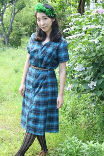1950's vintage cotton dress blue チェック柄 ヴィンテージ ワンピース コットン