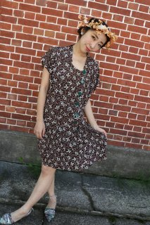 1940s vintage レーヨン dress antique ヴィンテージ ワンピース レトロ