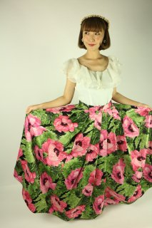<img class='new_mark_img1' src='//img.shop-pro.jp/img/new/icons14.gif' style='border:none;display:inline;margin:0px;padding:0px;width:auto;' />1950's pink & green flower vintage circular skirt サーキュラースカート レトロ ヴィンテージ