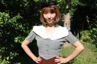 <img class='new_mark_img1' src='https://img.shop-pro.jp/img/new/icons14.gif' style='border:none;display:inline;margin:0px;padding:0px;width:auto;' />1930's vintage blouse チェック フリル アンティーク レース ショート丈