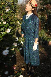 1950's vintage flower green blue Dress  antique 襟付き ワンピース