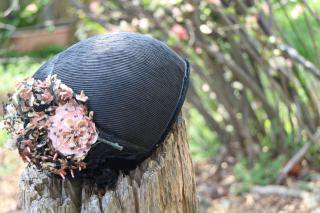 1930's Flower Black Hat ヘッドドレス antique 帽子