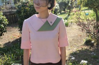 1950's vintage pink&green Tops ブラウス antique linen