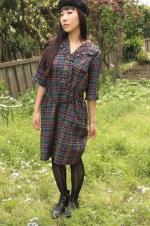 1950's vintage check dress antique