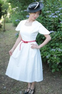 1950's vintage White flower dress ベルト付き antique