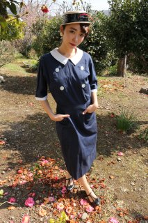 1960's vintage marin french dress antique 襟付き 結婚式 入学式