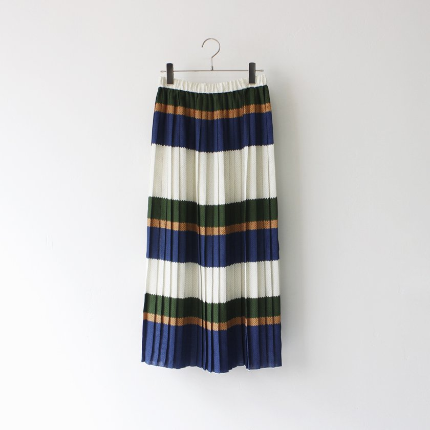 MANON Original Knit Border Print Pleats Skirt