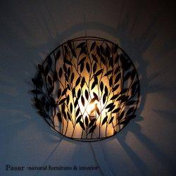 IRON ART 葉っぱの壁掛けランプ
