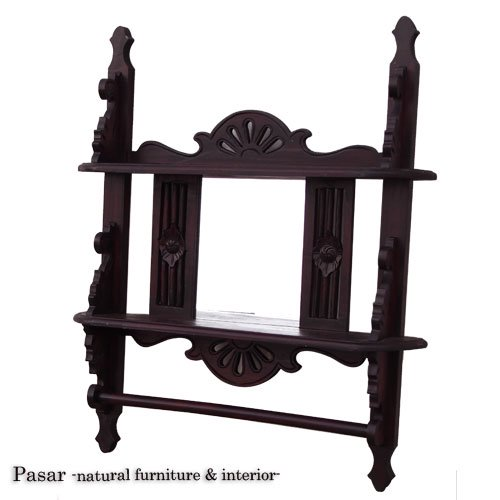 タオルハンガー付きの木彫りミラー