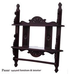 タオルハンガー付き木彫りミラー