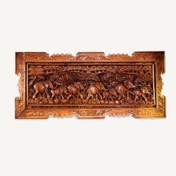 木彫りのウォールアート Elephant