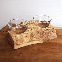 チーク無垢材 ガラスボウルオブジェ