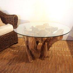 チーク ルーツテーブル ガラス φ80(cm)