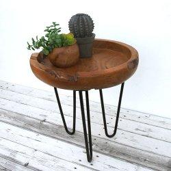 チーク無垢材とアイアンのサイドテーブル