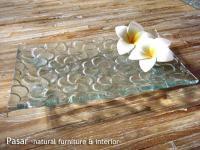 バリガラス フランジパニの脚付プレート