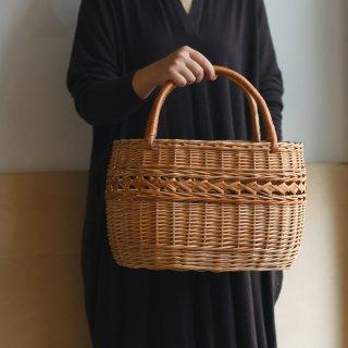 ラトビアの手仕事 模様編みの大きな買い物かご