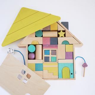 【送料無料】gg* tsumiki おうち型のかわいい積み木セット