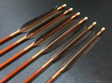 カーボン矢 6本組 雷槌(いかづち)七六式・竹 黒手羽 (2)