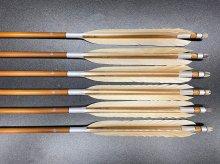 竹矢 梓 6本組 近的用 白羽 尾羽(2) 全長約100〜103cm 仕上がり約31〜32g