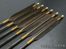 【ワケあり特価矢】カーボン矢 6本組 KC-8025 黒尾羽 (9)