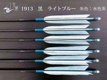 【矢龍】ジュラ矢 6本組 1913 黒 ターキー ライトブルー