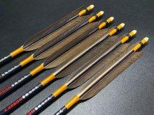カーボン矢 6本組 雷槌(いかづち)七六式JB 黒手羽 (1)