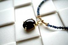 【お好きな長さで】ブラックオパール×サファイアの美しすぎるネックレス
