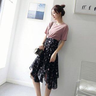 シフォン 花柄 フィッシュテール ブラック ロングスカート