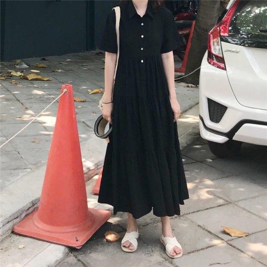 半袖 シャツ シンプル カジュアル ブラック ロングワンピース