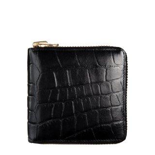 STATUS ANXIETY ブラック リアルレザー 本革 クロコ型押し 二つ折り財布 ウォレット ラウンドファスナー