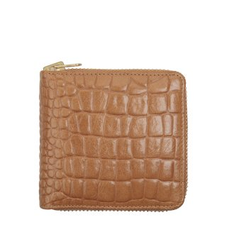 STATUS ANXIETY ブラウン リアルレザー 本革 クロコ型押し 二つ折り財布 ウォレット ラウンドファスナー