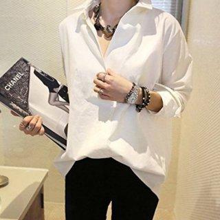 即納品 深Vネック ホワイト オーバーサイズ 白シャツ ハイローヘム カットソー ブラウス 通販