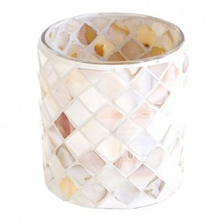 即納品 モロッコテイスト キャンドルホルダー ホワイト マーメイドタイル 間接照明