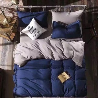 即納品 ネイビー ベッドカバー+枕カバー 3点セット シングル 布団カバー 掛け布団カバー ピロケース  寝具 海外インテリア 通販