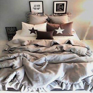 即納品 グレー シャビー フリル ベッドカバー+枕カバー 3点セット シングル ピローケース  寝具 海外インテリア 通販