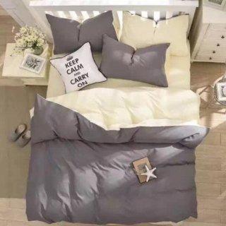 即納品 グレー ベッドカバー+枕カバー 3点セット シングル 布団カバー 掛け布団カバー ピロケース  寝具 海外インテリア 通販