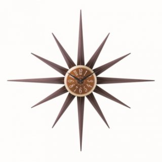 即納品 ブラウン サンバースト 壁掛け時計 ウォールクロック 海外インテリア インポート 通販