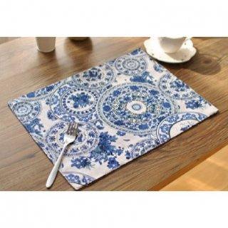 即納品 2枚セット ホワイト×ブルー 花柄 モロッコ風 ランチョンマット プレイスマット 通販