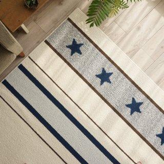 即納品 ブルー 防ダニ加工 スター 星 ストライプ ラグマット カーペット 西海岸 海外インテリア 通販