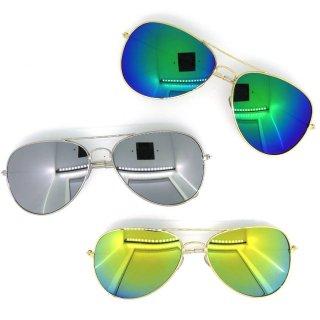 即納品 3色展開 ミラーレンズ メタルフレーム ティアドロップサングラス インポート 通販