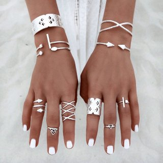 【大特価】 8本セット リング 指輪 ボヘミアン インポートアクセサリー 通販