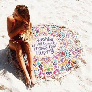 【大特価】カラフル フラワー 花柄 レター メッセージ ラウンドビーチマット ブランケット ラウンドラグ ビーチラグ